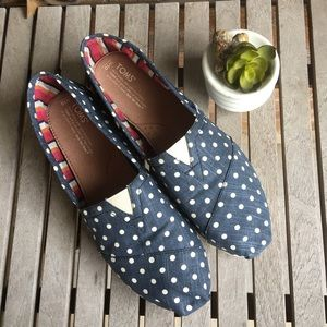 Women's Classic Toms Navy & Linen Polka Dots